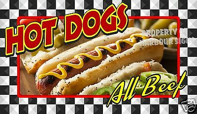 """Hot Dogs All Beef Decal 14"""" Concession Food Truck Restaurant Vinyl Menu"""