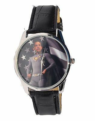 President Barack Obama ObamaMan Superman Theme Watch with Band and Case