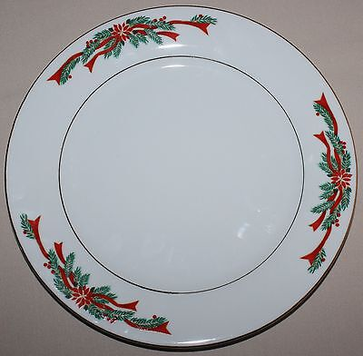 "Poinsettia & Ribbons Holiday Christmas Dinner Plate ~ 10 1/2"" ~ Tienshan"