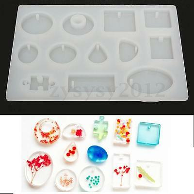 12 Style White Silicone Mold Mould For Resin Pendant Jewelry Making Craft Tool