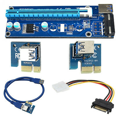 USB3.0 PCI-E PCI Express 1x to 16x Extender Riser Card Adapter Powered Cable New