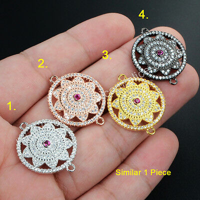 1Pcs BOHO Hollowed Round Flower Inlay CZ Paved With Plated Tone Connector HWX031