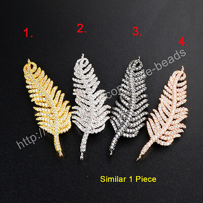 1Pcs BOHO Feather Leaf Inlay CZ Paved With Plated Tone Link Connector HOT HWX034