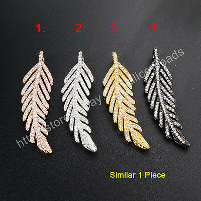 1Pcs BOHO Feather Leaf Inlay CZ Paved With Plated Tone Pendant Bead HOT HWX035