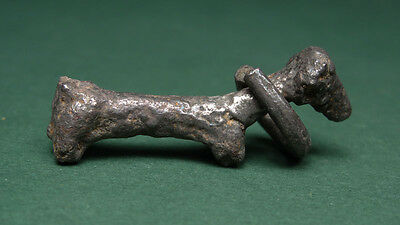 ANCIENT SILVER AMULET DOG WITH NECKLACE RARE 3rd-2nd MILLENNIUM BC