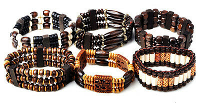 5pcs Wholesale Lots Jewelry Mixed Style Wood Beads Stretchy Bracelets
