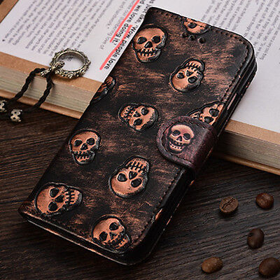 halloween flip leather skull wallet case cover for apple iphone 6 6s 7 plus se 5