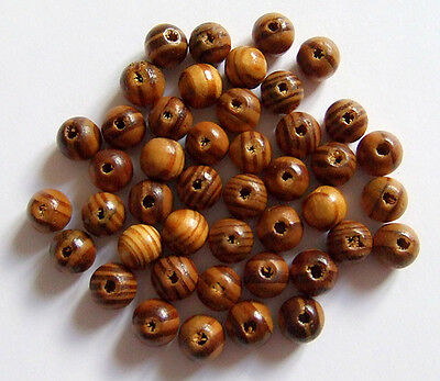 50pz perline in legno naturale tondo 10mm  colore marrone bijoux