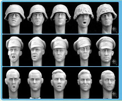 █ 1/35 WWII Soldier Heads 15 Patterns Unpainted [Resin Figure Acc]  TR014