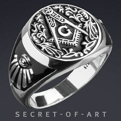 Masonic Ring Classic Vintage-Style, 925 Sterling Silver, Black Enamel, Excellent