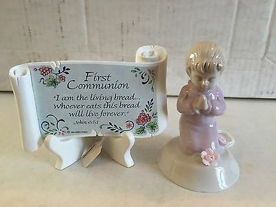 My First Communion Roman, Inc Girl Figurine, Scroll & Stand All NEW Old Stock