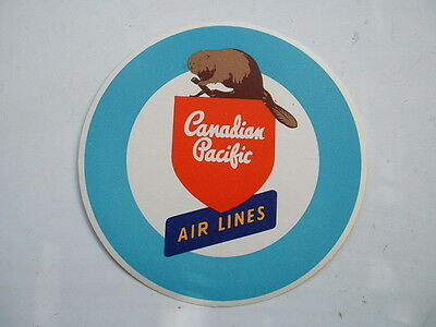 ORIGINAL 1950s AIRLINE STICKER CANADIAN PACIFIC AIR LINES