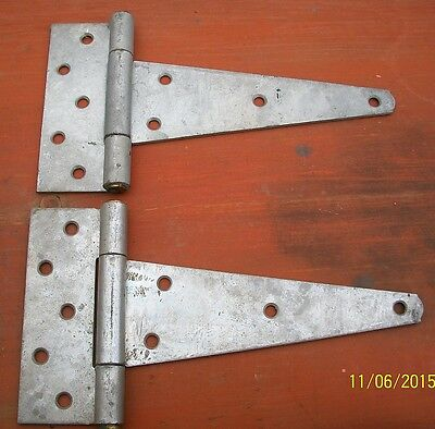 "1 - Pair Of Extra Heavy 8"" Galvanized Steel T-Hinges"