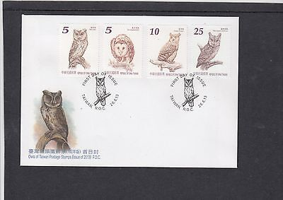China Taiwan 2013 Owls Birds First Day Cover FDC
