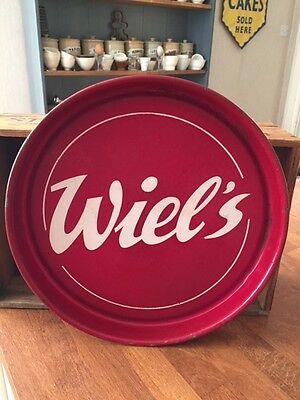 Vintage Wiel's Belgian Beer Enamel Advertising Serving Tray – Great! –