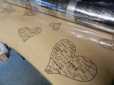 Cellophane 1m Length 80cm Wide Gift Wrapping Florist Film Valentines Hearts Love