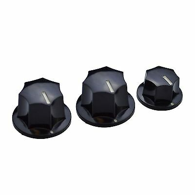 Set of 3 (2 Large, 1 Small) Volume & Tone Knobs For Fender Jazz Bass Guitar