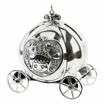 Silver Plated Cinderella Carriage Coach Money Box - New Baby Christening Gift