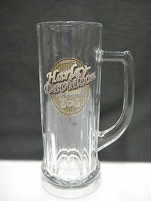 Harley Davidson Motorcycles Stein Mug Milwaukee Wisconsin 0.5 liters Clear Glass