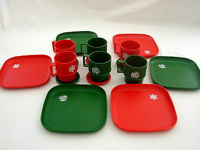 Vintage Tupperware Christmas Red and Green Luncheon Set 17 Plates Cups Coasters