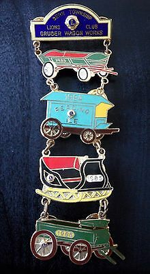 Vtg Lions Club Pin Bern Township Gruber Wagon Works 1980s