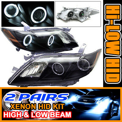 Fits 2 Sets HID 07-09 Camry CCFL Halo Projector Headlights