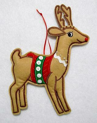 "Hand~Crafted 6"" Sequin Embroidered Felt Reindeer Christmas Ornament~Rudolph"