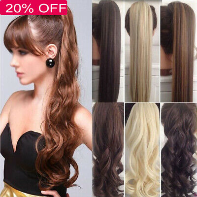 Hair Wrap Ponytail Clip in Pony Tail Hair Extensions Real Natural as Human HU0
