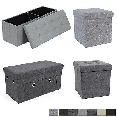 Storage Ottoman Linen Foldaway Seat Stool Chest ToyBox Bench Gray Brown