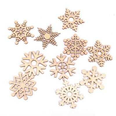 10 Rustic Assorted Wooden Snowflake Tags Christmas Tree Hanging Ornaments