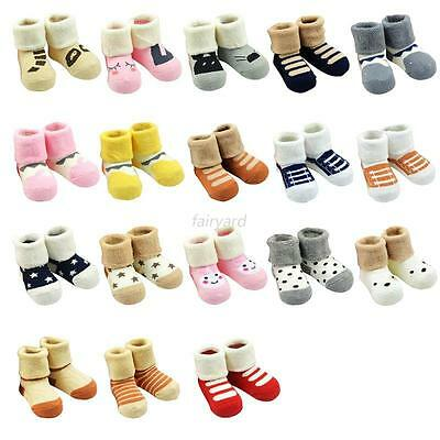 Cute Baby Kids Autumn Winter Warm Thicken Cotton Cartoon Non-slip Ankle Socks