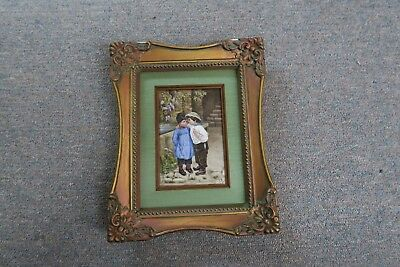 Antique Circa 1895 European Hand Painted Porcelain Plaque Painting~ Boy & Girl
