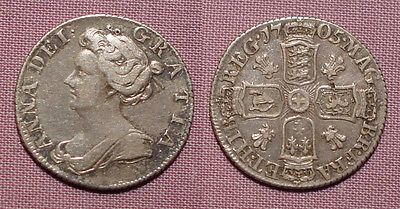 1705 QUEEN ANNE SILVER SIXPENCE - Plumes in Angles