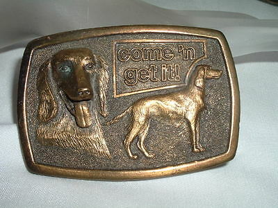 "Vintage 1977 Carnation  ""Come 'N Get It"" Brass Hunting Dog Belt Buckle"