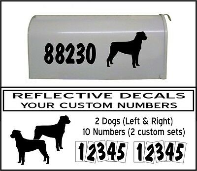 REFLECTIVE MAILBOX NUMBER address DECAL KIT and ROTTWEILER in BLACK