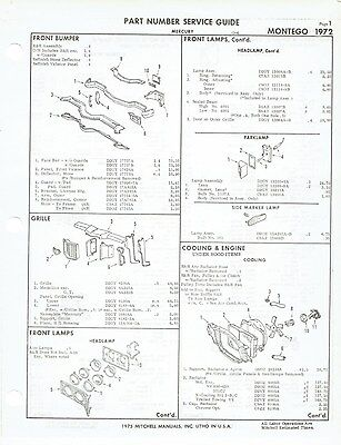 1972 Mercury Montego and Cyclone Factory OEM Part Number List gtc