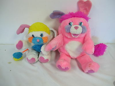 """Popples Vintage Plush 14"""" Party Pink Purple & White Puffball"""