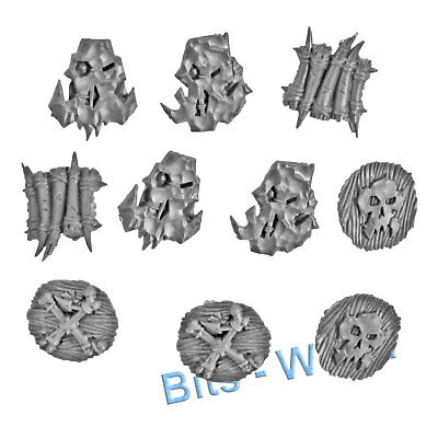WARHAMMER BITS: ORCS & GOBLINS SAVAGE BOARBOYS - BONE SHIELDS x10