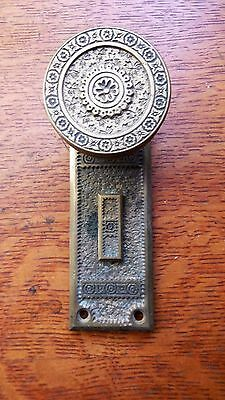 "Antique Brass Entry Doorknob and Matching Doorplate by Branford Pat.1884  ""Ivy"""