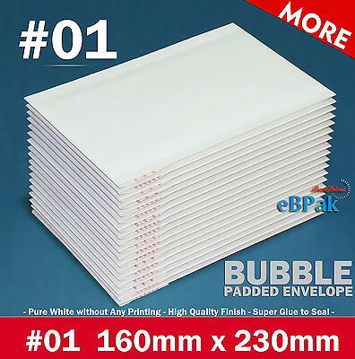 Bubble Mailer Size #01 160x230mm - Plain White  Padded Bag Envelope 50/200/500