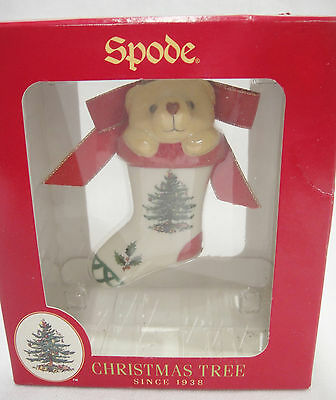 Spode Christmas Tree Stocking with Bear Peeking Out Ornament Porcelain MIB