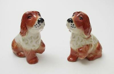 Vintage Darbyshire Australian Pottery Spaniel Dogs Salt & Pepper Shakers Label