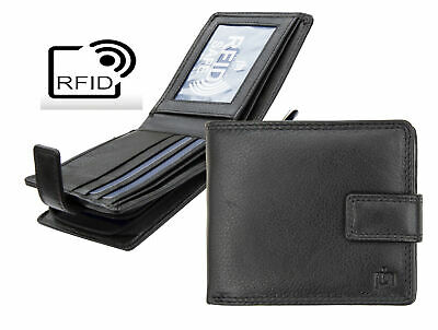 Prime Hide Washington RFID Blocking Black Leather Wallet with Zipped coin Purse