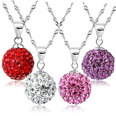 Fashion Women 925 Sterling Silver Chain Crystal Rhinestone Necklace Pendant ZA