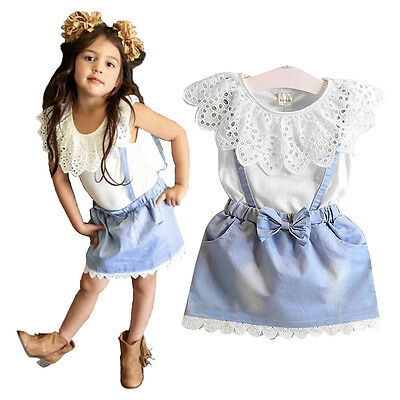 Baby Girls Toddler Kids Outfits Clothes T-shirt Tops+Strap Dress Skirt ZA