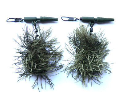 2 x CAMO CARP LEADS WEED EFFECT HAIR RIGS LEAD CLIPS HOOKS fishing tackle