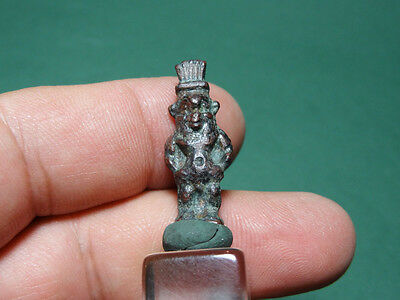 Ancient God Bes Amulet Bronze Egyptian Late Period 716-30 Bc