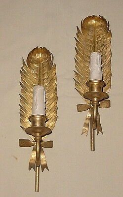 Old Brass Bronze Feathers Ribbons Motif Pair Wall Sconces Wired 1 Light Each 14""