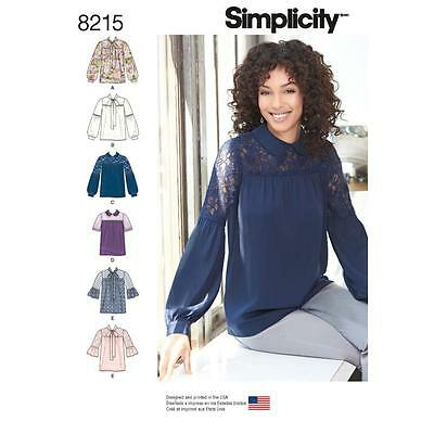 SIMPLICITY SEWING Pattern Misses Blouse With Neckline & Sleeve Var 4 ...