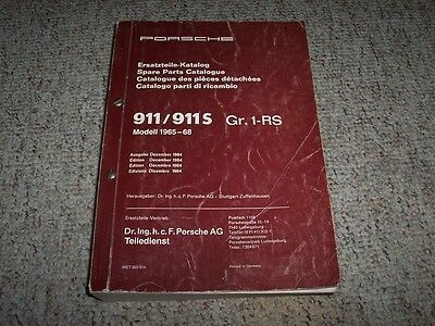 1965-1968 Porsche 911 911T 911L 911S Parts Catalog Manual Targa Coupe 1966 1967